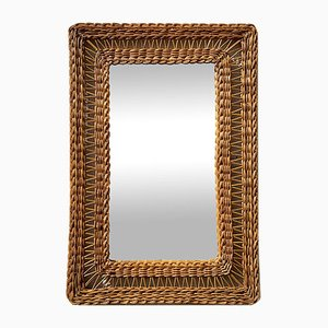 Mid-Century Rectangular Wicker Mirror