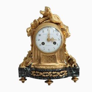 Reloj de repisa francés Napoleon III de bronce dorado y mármol de Vincenti, década de 1860