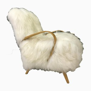 Vintage Art Deco White Sheepskin Armchair