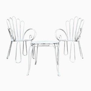 Französischer Vintage Gartentisch aus Lackiertem Gusseisen und Stühlen, 1950er