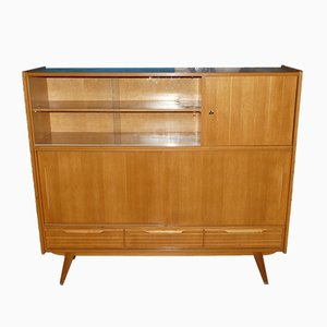 Mid-Century Cabinet with Bar Compartment and Display Case, 1950s