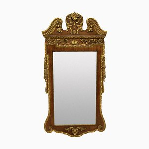 Vergoldeter Vintage Spiegel im George II Stil mit Nussholz & Paket, 1930er