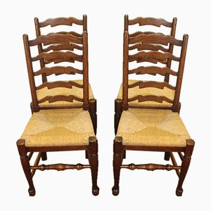 Medium Oak Ladderback Chairs with Rush Seats, 1920s, Set of 4