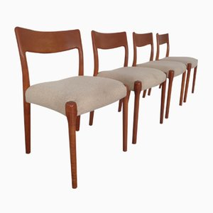 Danish Solid Teak Dining Chairs, 1960s, Set of 4