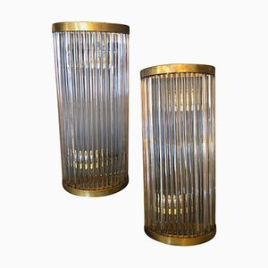 Mid-Century Italian Brass and Glass Sconce by Gaetano Sciolari, 1970s