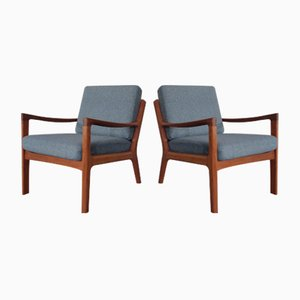 Mid-Century Danish Teak Senator Lounge Chairs by Ole Wanscher for France & Søn / France & Daverkosen, 1960s, Set of 2