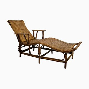 French Rattan Deck Chair Patio Lounger, 1960s