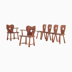 Scandinavian Dining Chairs in Pine by Bo Fjæstad, 1930s, Set of 6