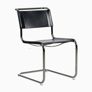 S33 Bauhaus Black Leather Cantilever Chair by Mart Stam for Thonet, 1990s