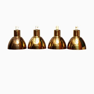 Brass Pendant Lamps by Hans-Agne Jakobsson for Markaryd, Sweden, 1960s, Set of 4