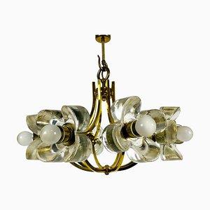 Italienischer Mid-Century Glas & Messing Kronleuchter mit 8 Leuchten, zugeschrieben von Mazzega, 1960er