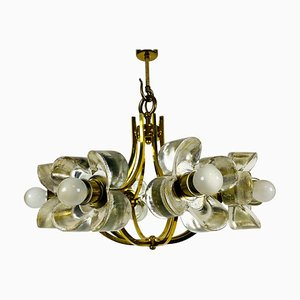 Mid-Century Italian Glass and Brass 8-Arm Chandelier Attributed to Mazzega, 1960s