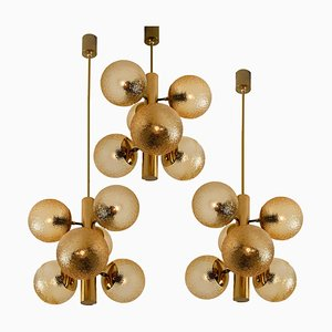 Molecular Amber Glass Globe Chandelier from VEB, 1960s