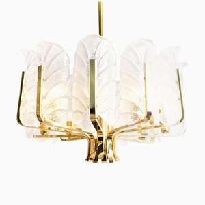 Large Glass Leaves and Brass Chandelier by Carl Fagerlund for Orrefors, 1960s