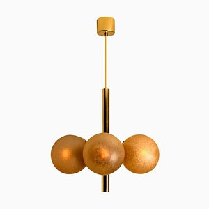 Molecular Chandelier with 6 Smoked Hand Blown Glass Globes from Kaiser Leuchten, 1960s