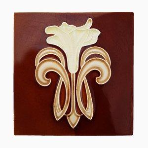 Art Jugendstil Keramikfliesen von Gilliot Te Hemiksem, 1920er, Set of 16