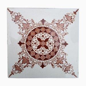 Antique Dark Red Brown Ceramic Tile from Societe Morialme, 1930s