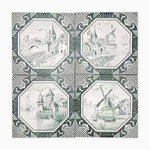 Ceramic Tiles by Gilliot, 1930s, Set of 4
