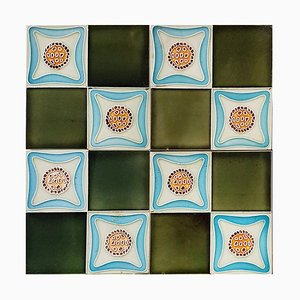 Art Deco Glazed Relief Tiles, Muster, 1930s, Set of 9