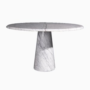 Carrara Marble Round Dining Table, 1970s