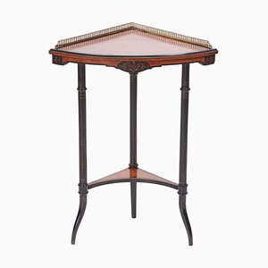 Antique Amboyna & Ebonized Corner Table, 1880s