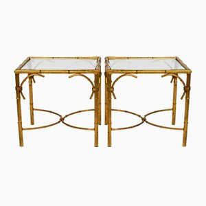 Gold-Plated Metal and Glass Side Tables by Hans Kögl for Hans Kögl, 1970s, Set of 2