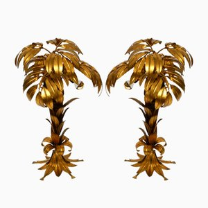 Gold-Plated Metal Palm Table Lamps by Hans Kögl for Hans Kögl, 1970s, Set of 2