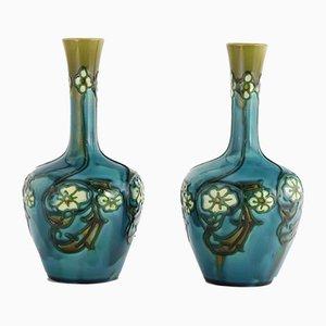 Vase Sécession Antique Turquoise par Leon Victor Solon pour Minton, 1900s, Set de 2