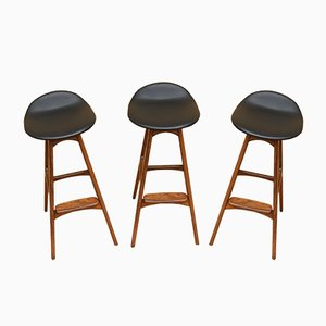 Bar Stools by Erik Buch for Oddense Maskinsnedkeri / O.D. Møbler, 1960s, Set of 3