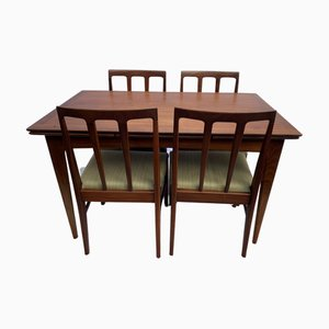 Mid-Century Volnay Afromosia Extendable Dining Table & Chairs Set by John Herbert for A. Younger Ltd., Set of 7