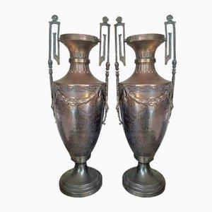 Napoleon III Empire French Brass Vases, Set of 2