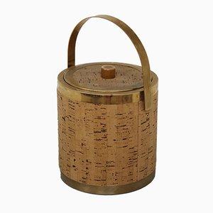 Vintage Italian Brass and Cork Wine Cooler Ice Bucket, 1970s