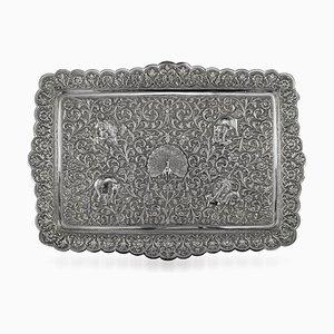 Antikes indisches Silbergeschirr Tablett von Oomersi Mawji, 1880er