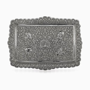 Antique Indian Cutch Silver Salver Tray by Oomersi Mawji, 1880s