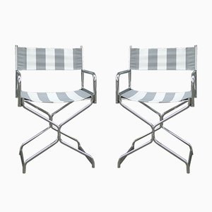 Vintage Garden Folding Chairs in Chromed Tubular Steel with Canvas, 1970s, Set of 2