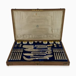 Antikes silbernes Kaviar & Fischbesteck aus Kavallerie, 1900er, 36er Set