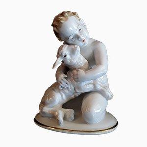 Antiker deutscher handbemalter Porzellan Engel mit Figur von K. Himmelstoß für Rosenthal, 1930er