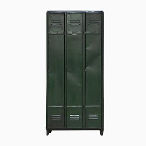 Mid-Century Industrial 3-Door Locker in Green, 1950s