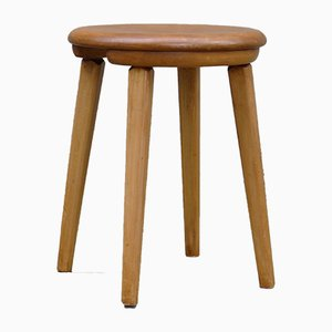 Vintage Swiss Stool in Beech for the Comptoir Suisse in the Palais Beaulieu Lausanne, 1940s