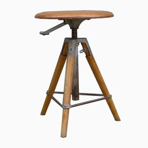 Vintage Industrial Height Adjustable Workshop Stool from Girsberger, Switzerland