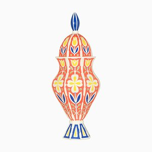 Urna multicolore geometrica e floreale in ceramica di Sicas Sesto Fiorentino, Italia, anni '60