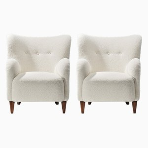 Finnish Boucle Lounge Chairs, 1940s, Set of 2