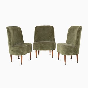 Italian Wood and Velvet Lounge Chairs, 1950s, Set of 3
