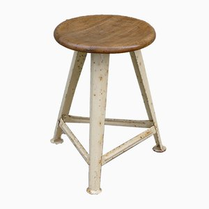 Vintage Industrial Workshop Stool in Steel and Beech in the Style of Rowac, 1930s
