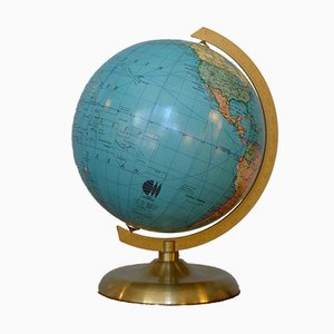 Small Mid-Century 14 cm Globe with Tulip Base in Brass from JRO-Verlag, 1960s
