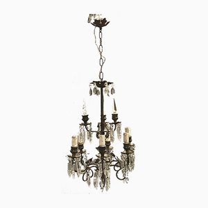 Antique Crystal Bronze Chandeliers, 1920s, Set of 2