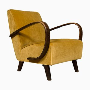 Velvet Model 135 Armchair by Jindřich Halabala, 1930s