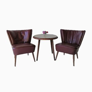 Set de Fauteuils Vintage et Table, 1950s