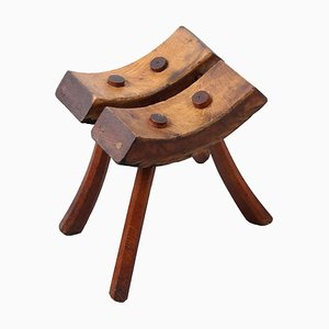 Brutalist Folk Art Wooden Farmer Stool, 1920s