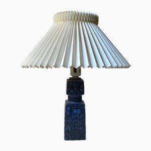 Lampe de Bureau en Céramique Bleue par Nils Thorsson pour Royal Copenhagen & Fog & Morup, 1970s